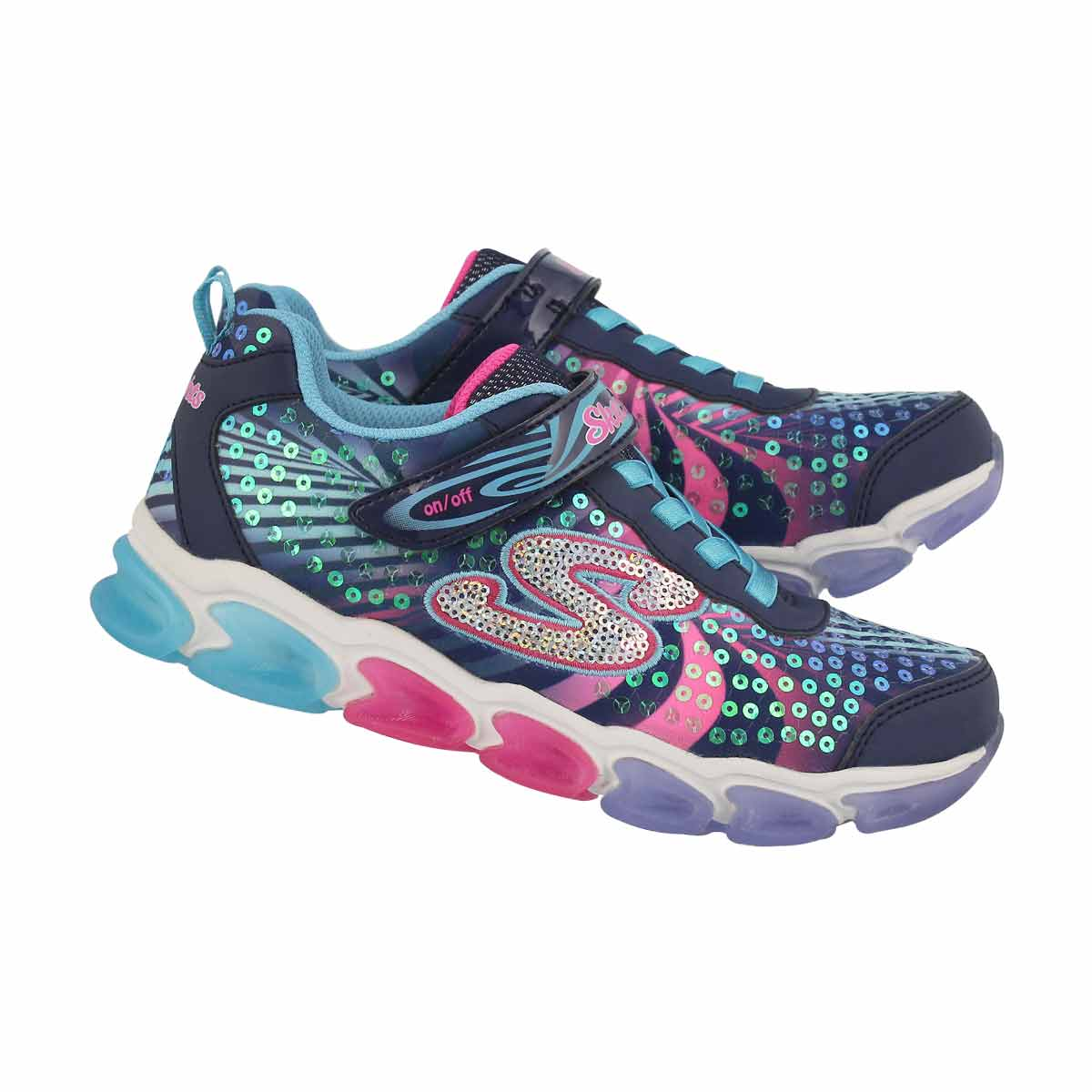 Grls Jelly Beams nvy/mlt lightup sneaker