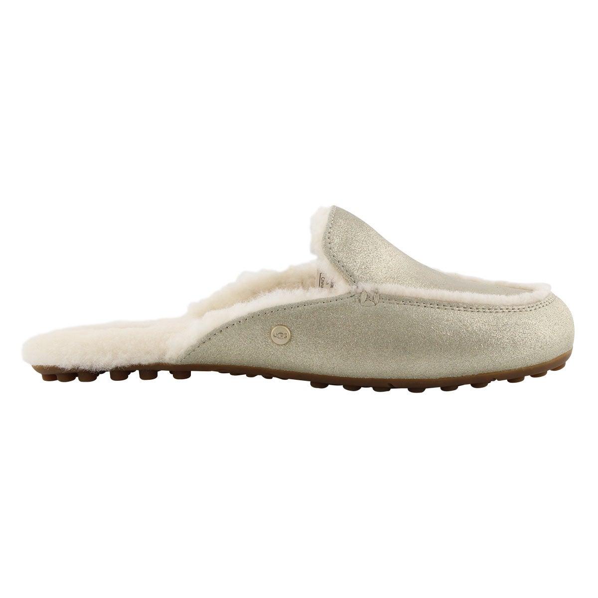 Lds LaneMetallic pltnm open back slipper