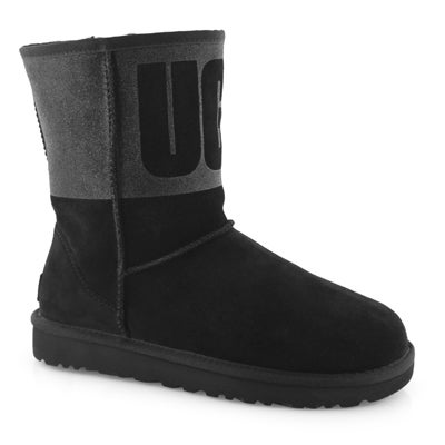 Lds Classic Short Ugg Sparkle black boot