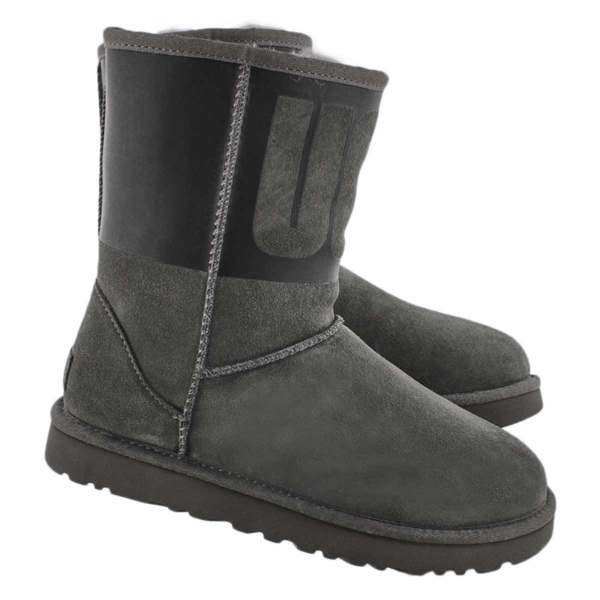 Lds Classic Short Ugg Rubber gy/bk boot
