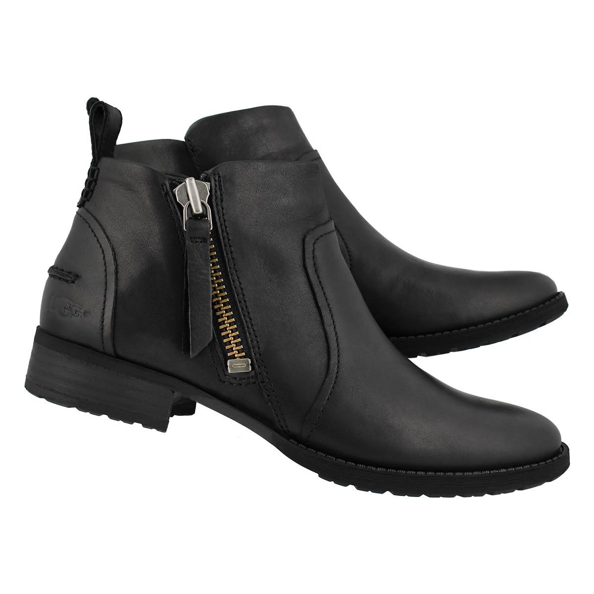 Lds Aureo black lthr side zip bootie