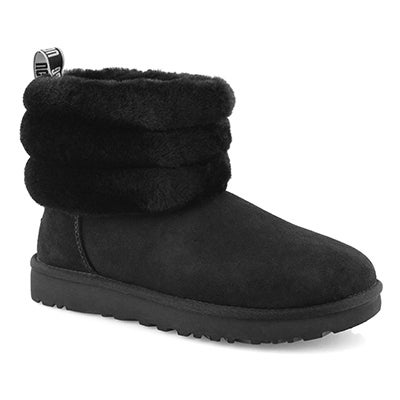 Lds Fluff Mini Quilted blk shpskn boot