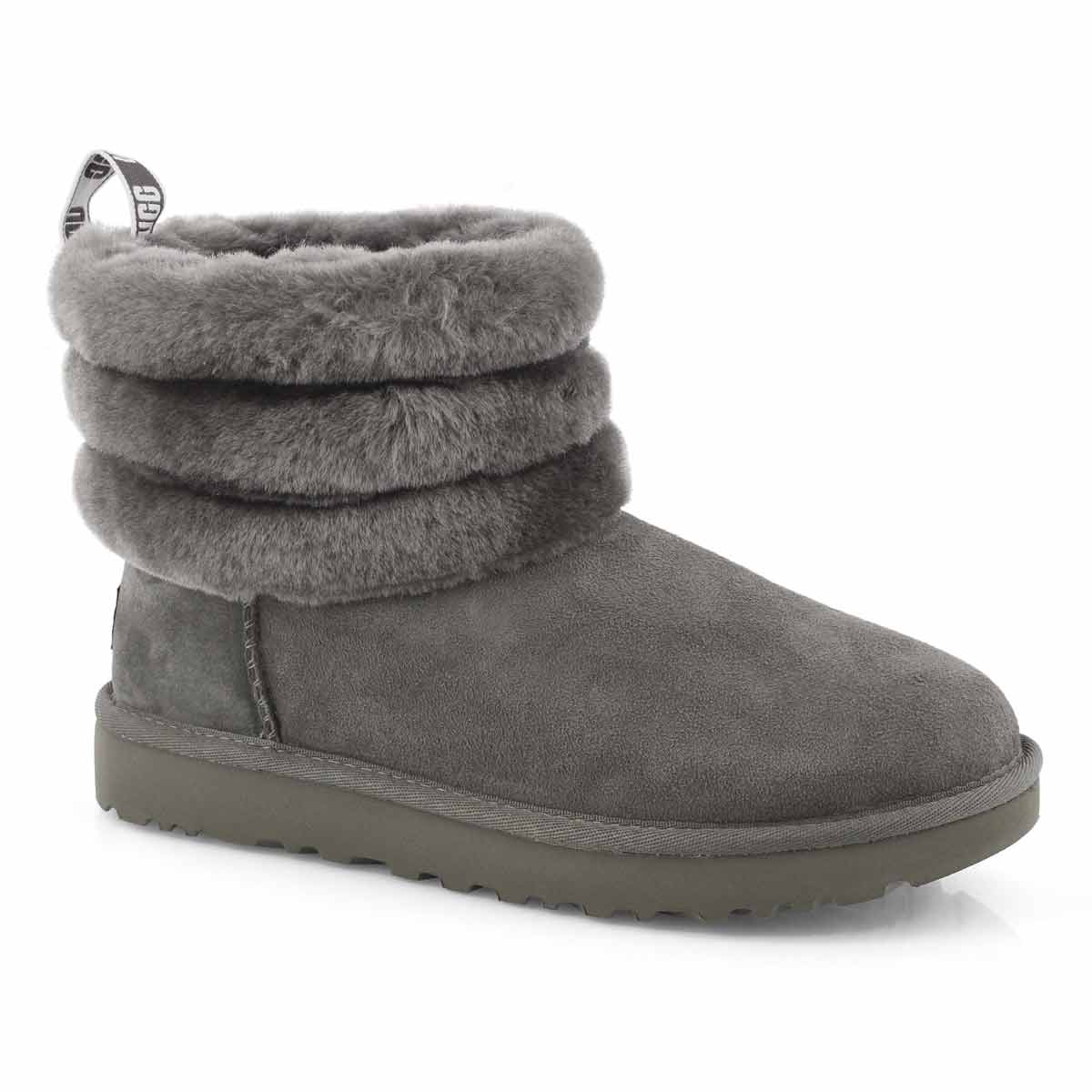 Lds Fluff Mini Quilted char shpskn boot