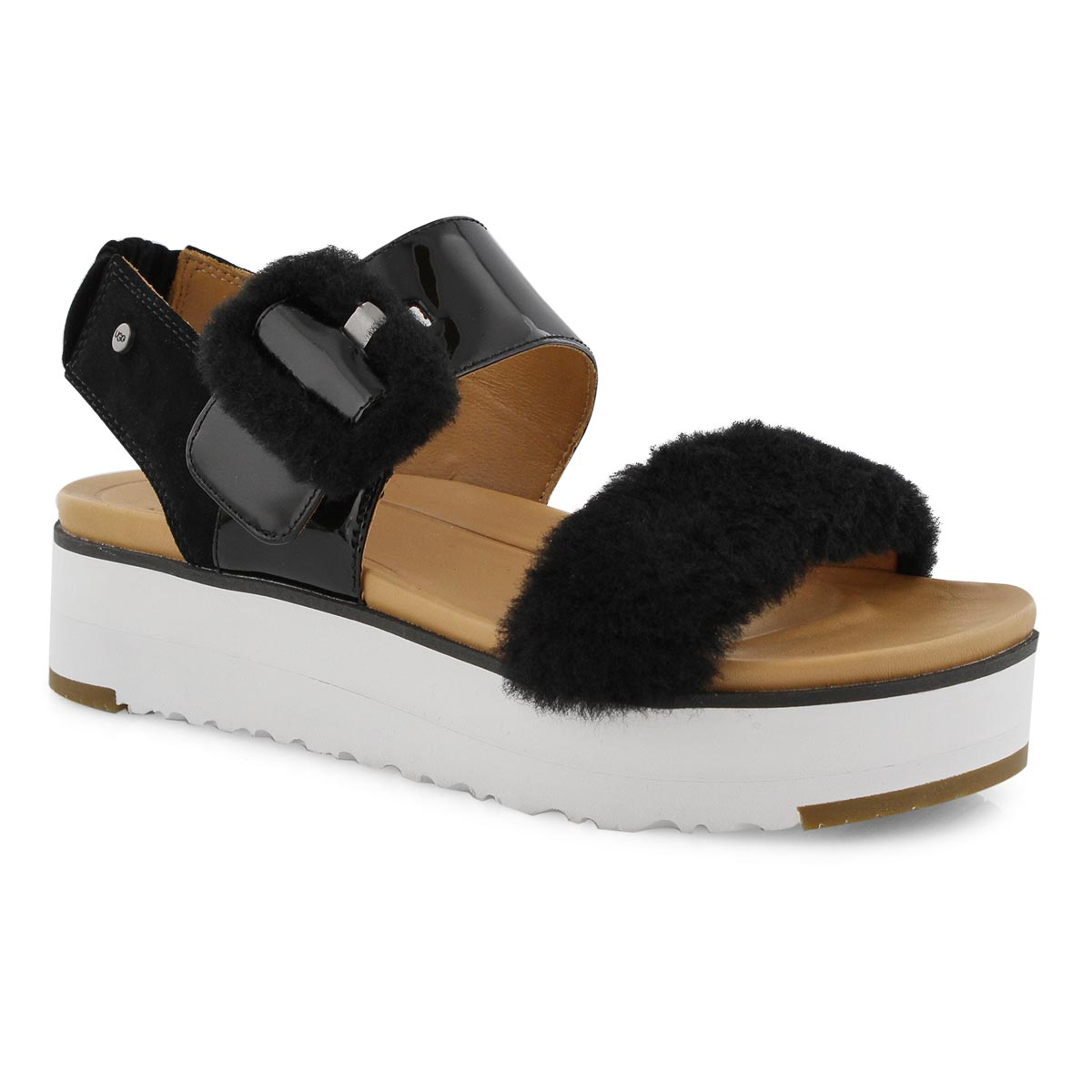29bf4fc2dd3 UGG Women's LE FLUFF black casual sandals | Softmoc.com