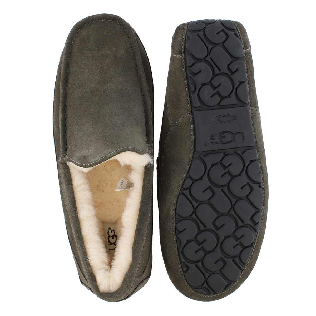 Mns Ascot charcoal sheepskin slipper