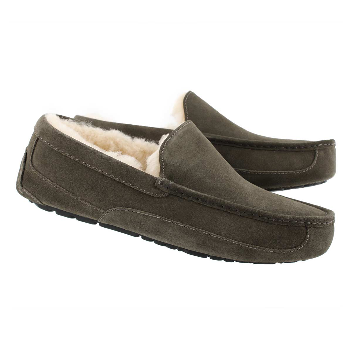 Mns Ascot charcoal sheepskin slipper