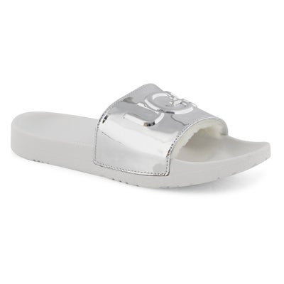 Lds Royale Graphic Metallic slvr sandal
