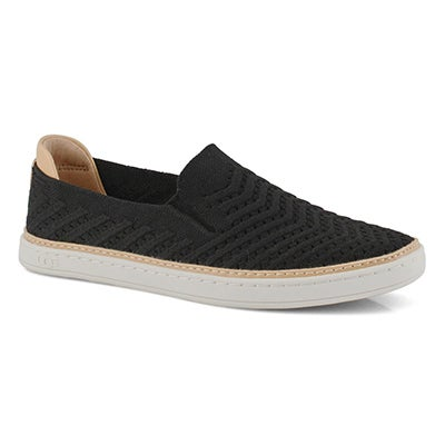 Lds Sammy Chevron blk casual slip on
