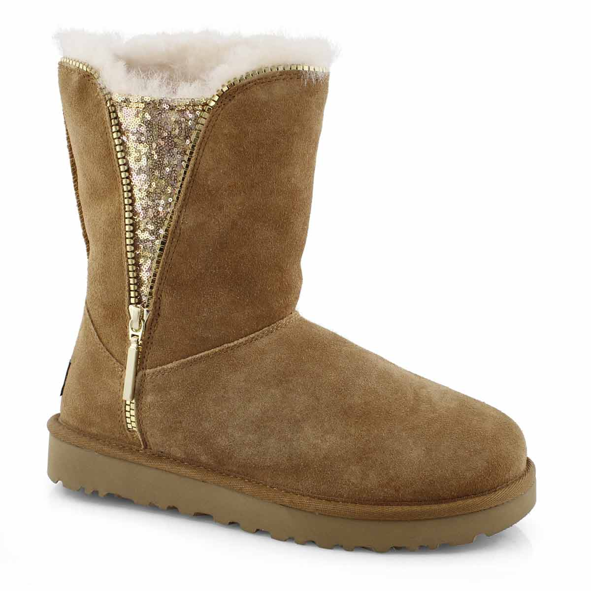 Lds Classic Zip chestnut sheepskin boot