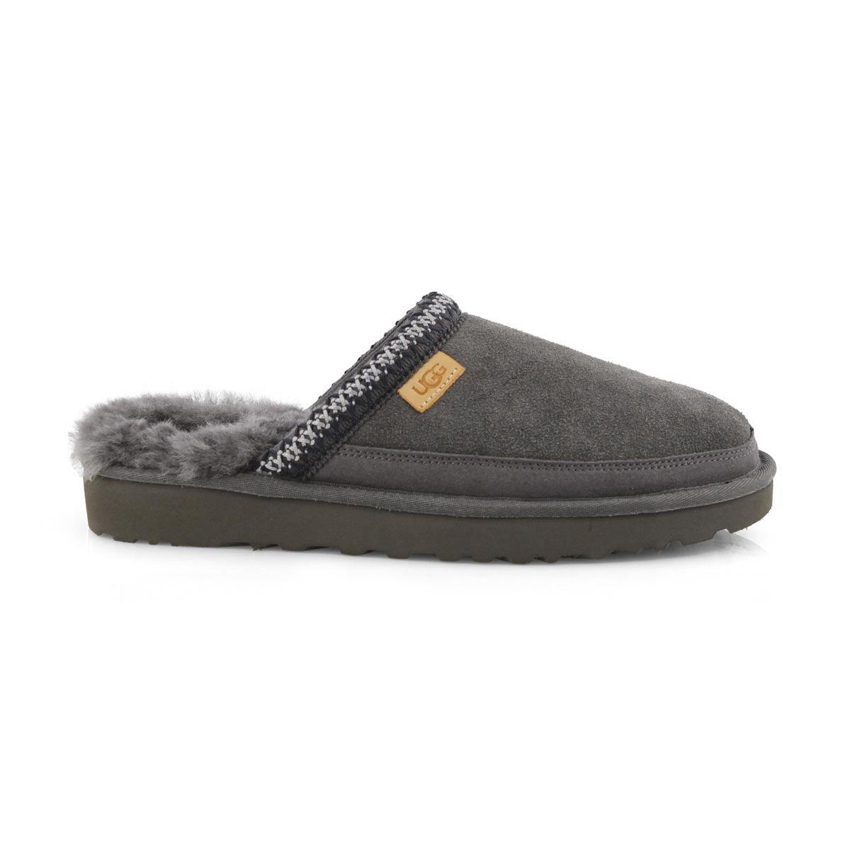 Mns Tasman grey shpskn open back slipper