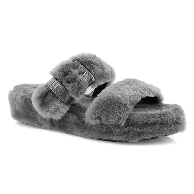 Lds Fuzz Yeah charcoal sheepskin slipper