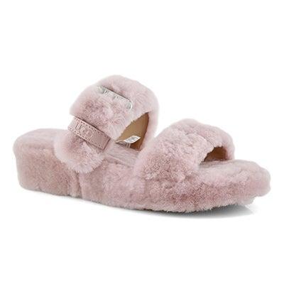 Lds Fuzz Yeah pink sheepskin slipper