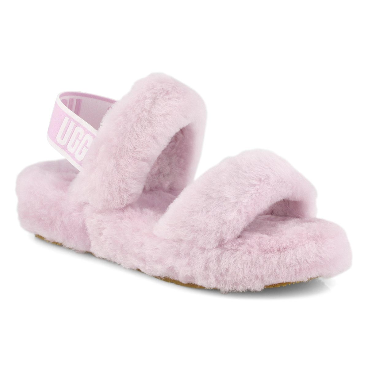 Lds Oh Yeah pink sheepskin slipper