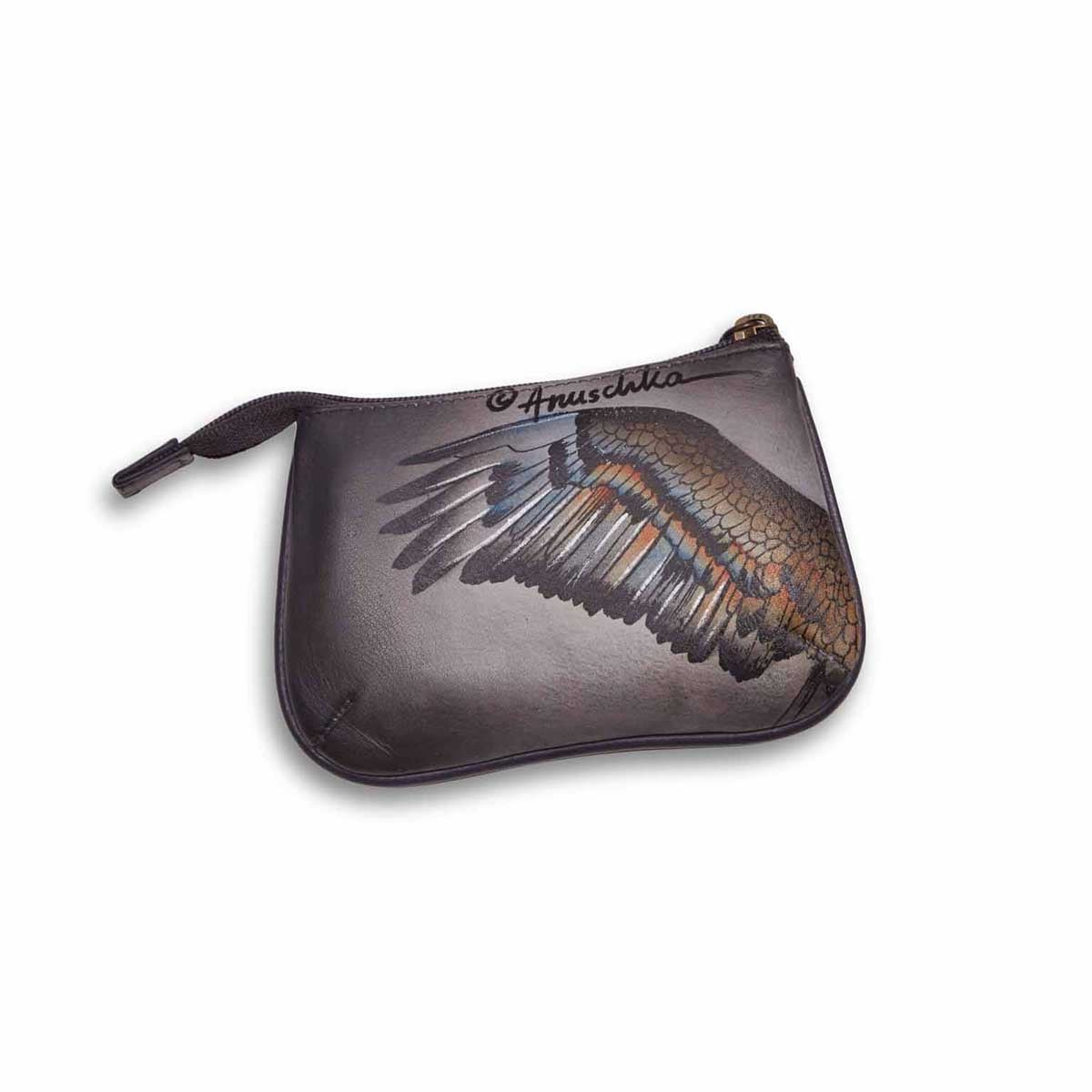 Painted lthr American Eagle coin purse