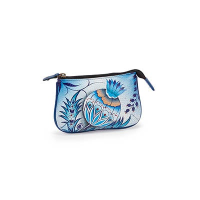 Painted lthr Bewitching Blues coin purse