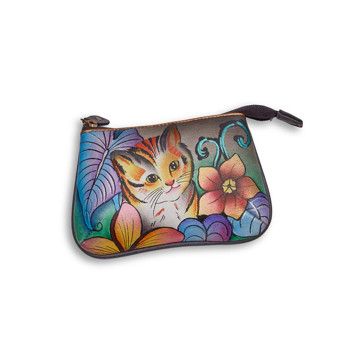 Painted lthr CatsInWonderland coin purse