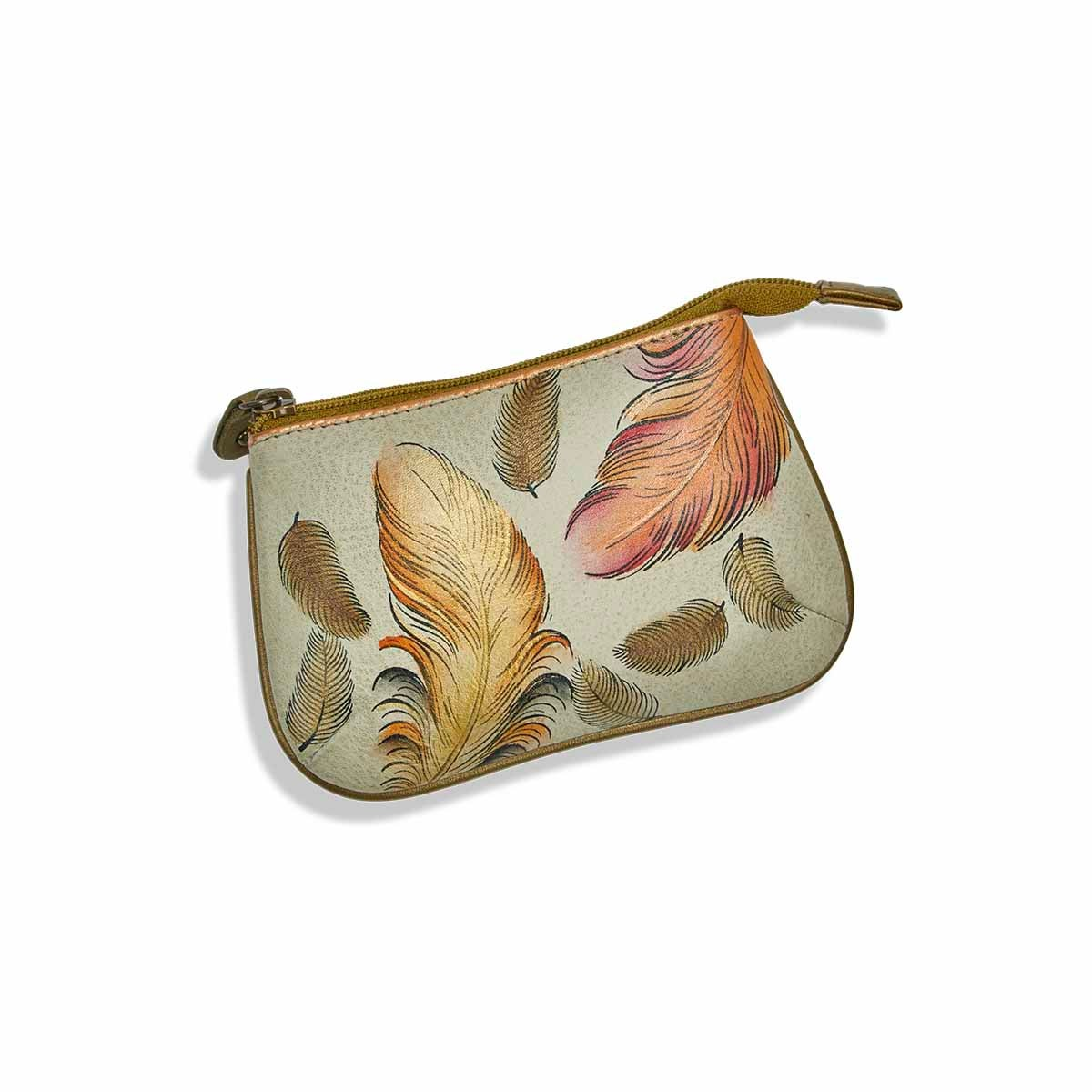 Painted lthr FloatingFeathers coin purse