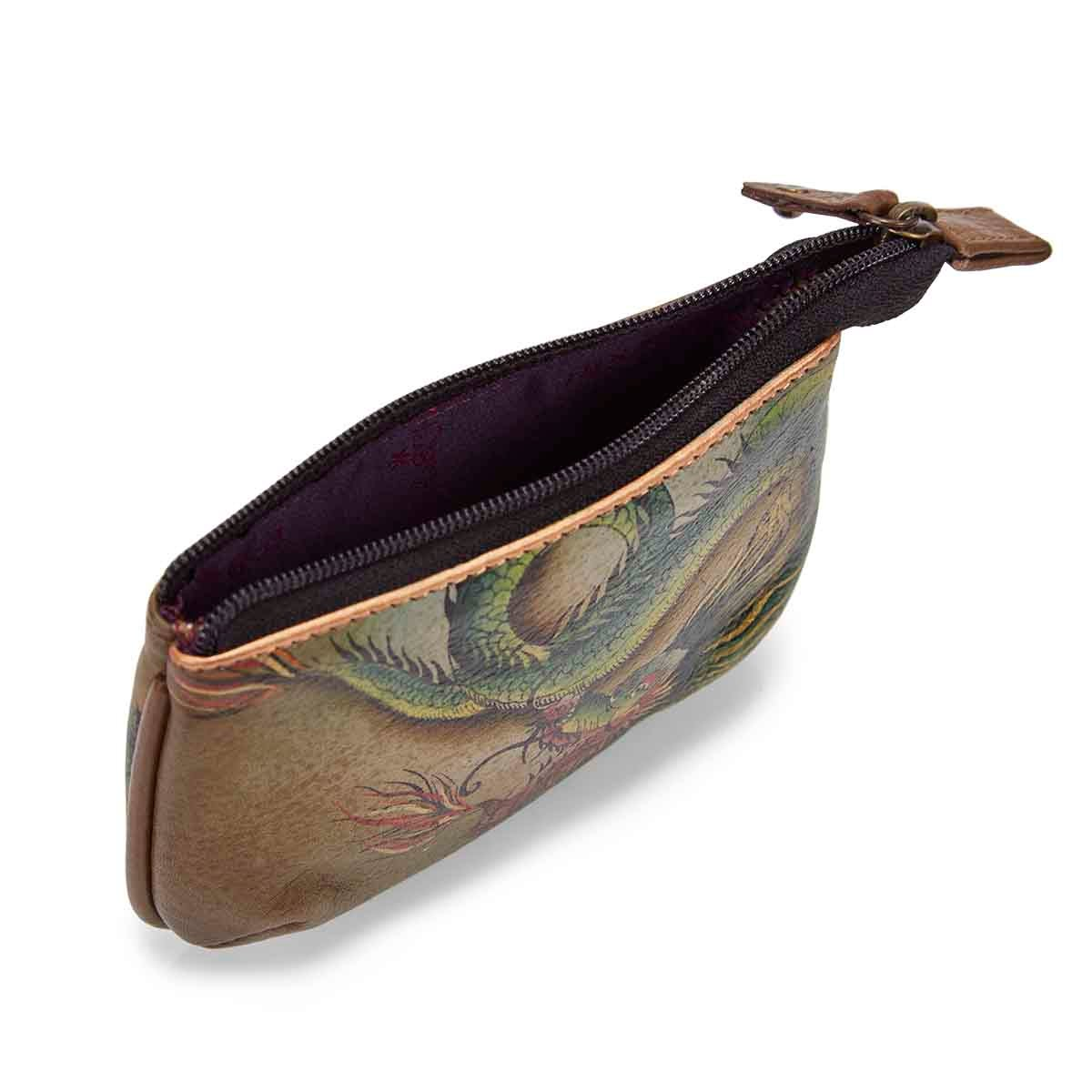 Painted lthr Hidden Dragon coin purse
