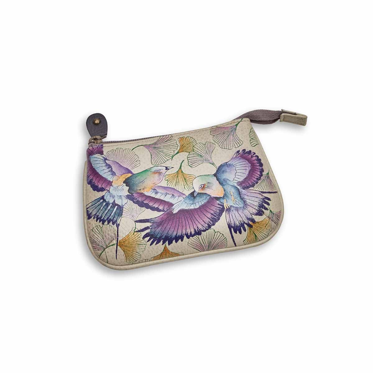 Painted lthr Wings Of Hope coin purse