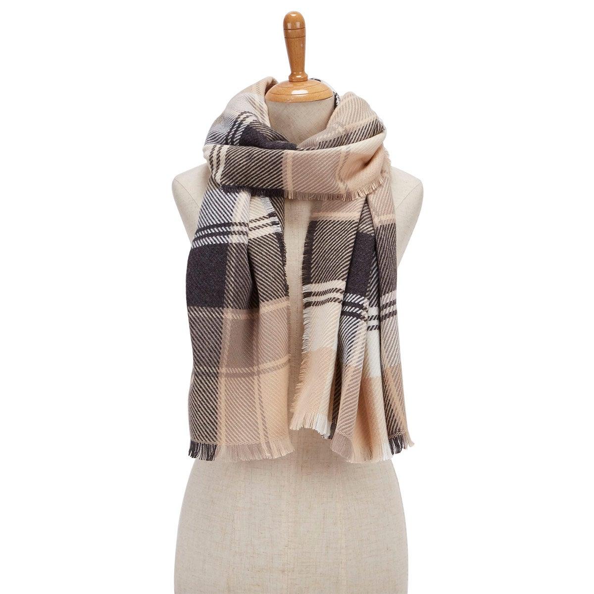 Lds Plaid Wrap beige scarf