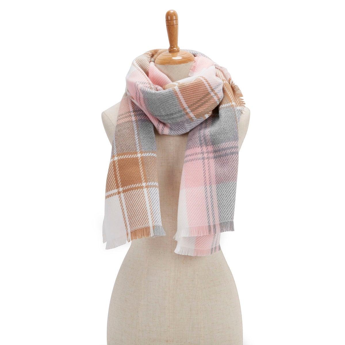 Lds Plaid Wrap camel/rose scarf