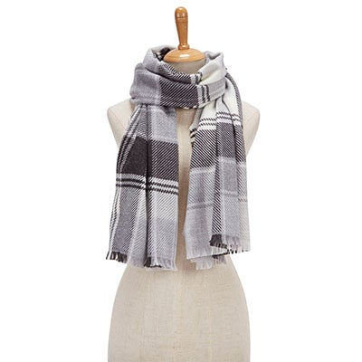 Lds Plaid Wrap silver scarf