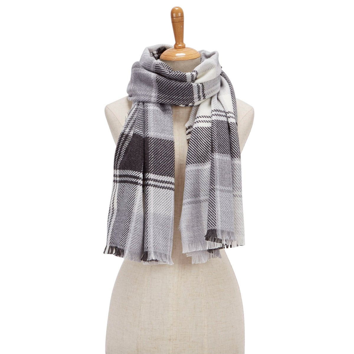 Lds Plaid Wrap silver scarf