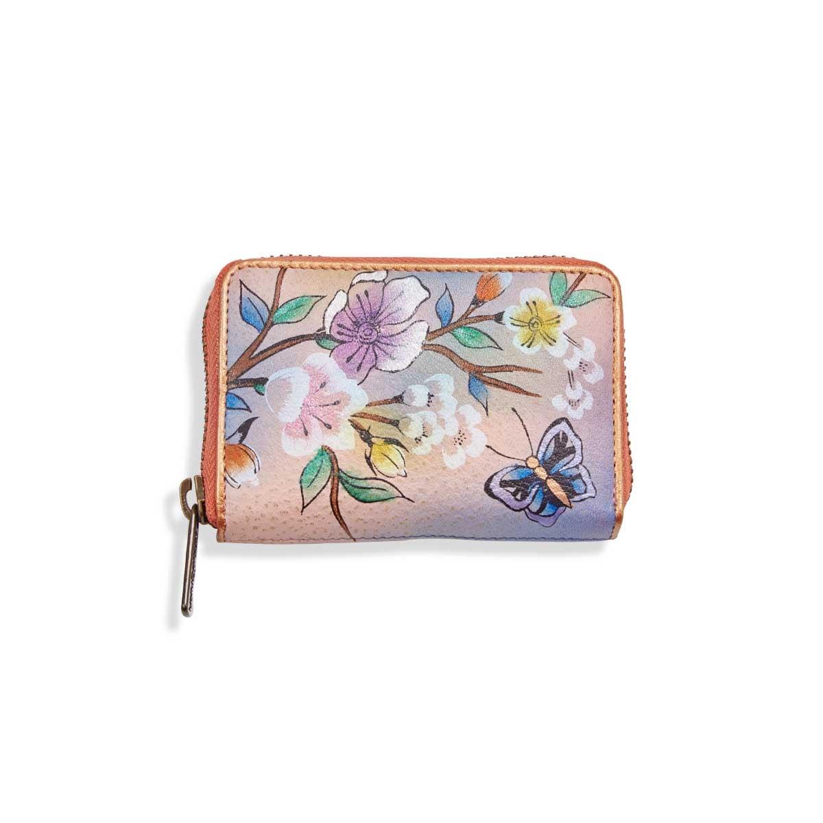Painted lthr Japanese Garden card holder