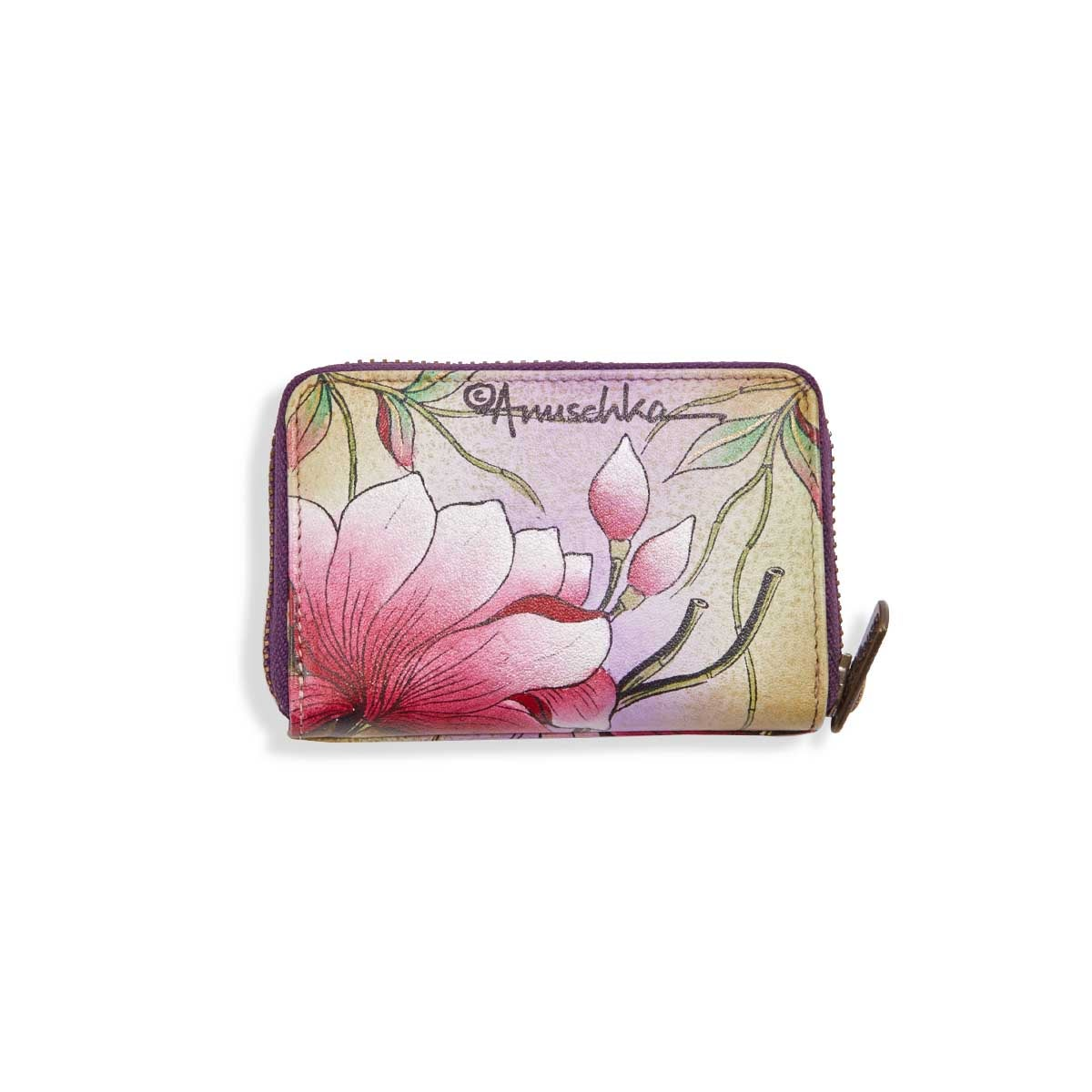 Painted lthr Spring Passion card holder