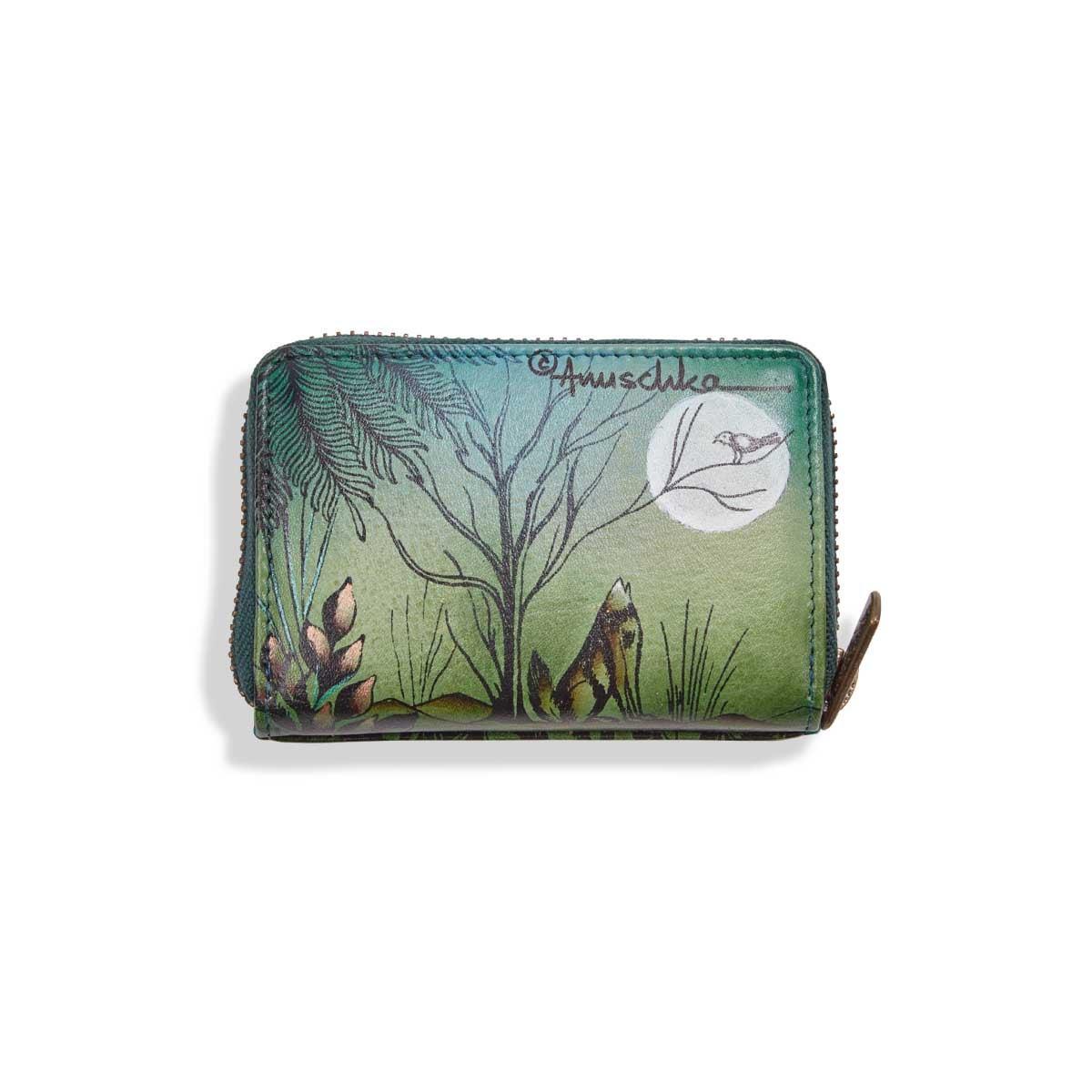 Painted lthr Western Wolf card holder