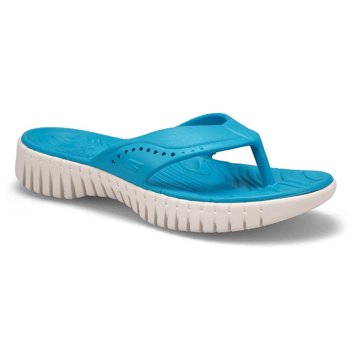 Lds Go Walk Smart blue thong sandal