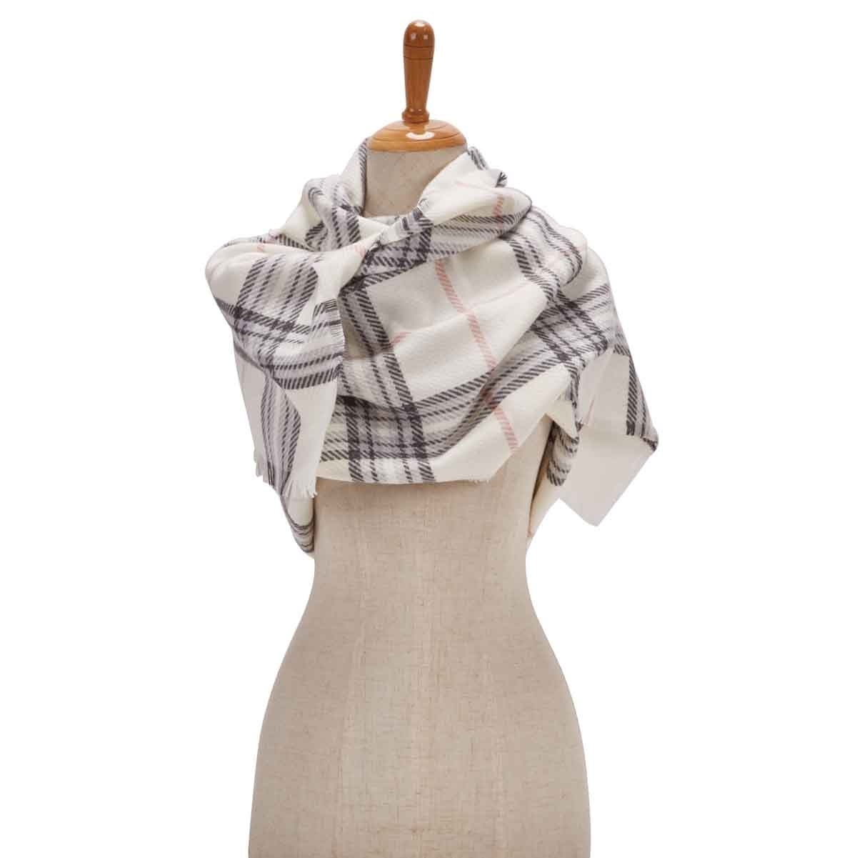 Lds Fraas Plaid ivory scarf