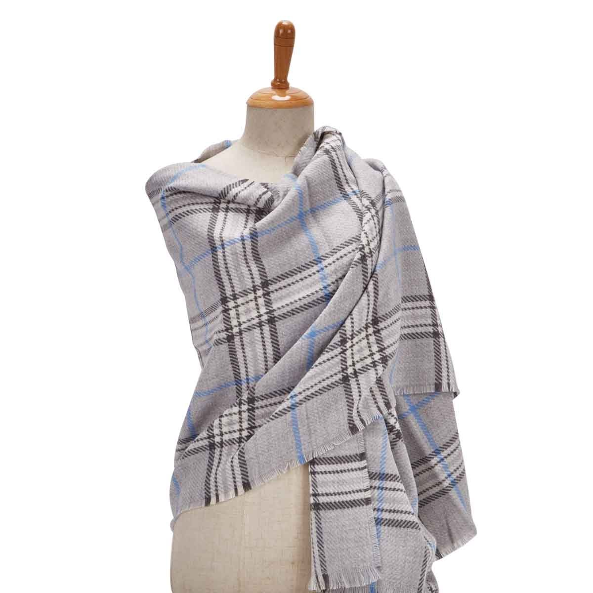 Lds Fraas Plaid silver scarf