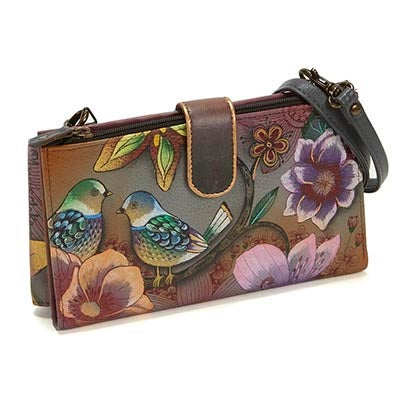 Painted lthr Blissful Bird phncse/wallet