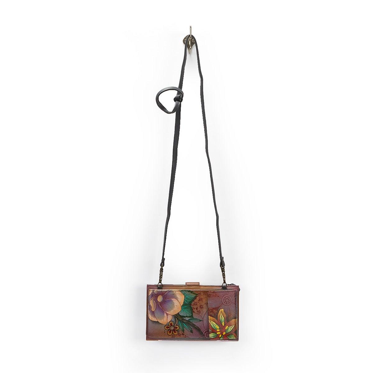 Painted lthr Blissful Bird phncse/wallet