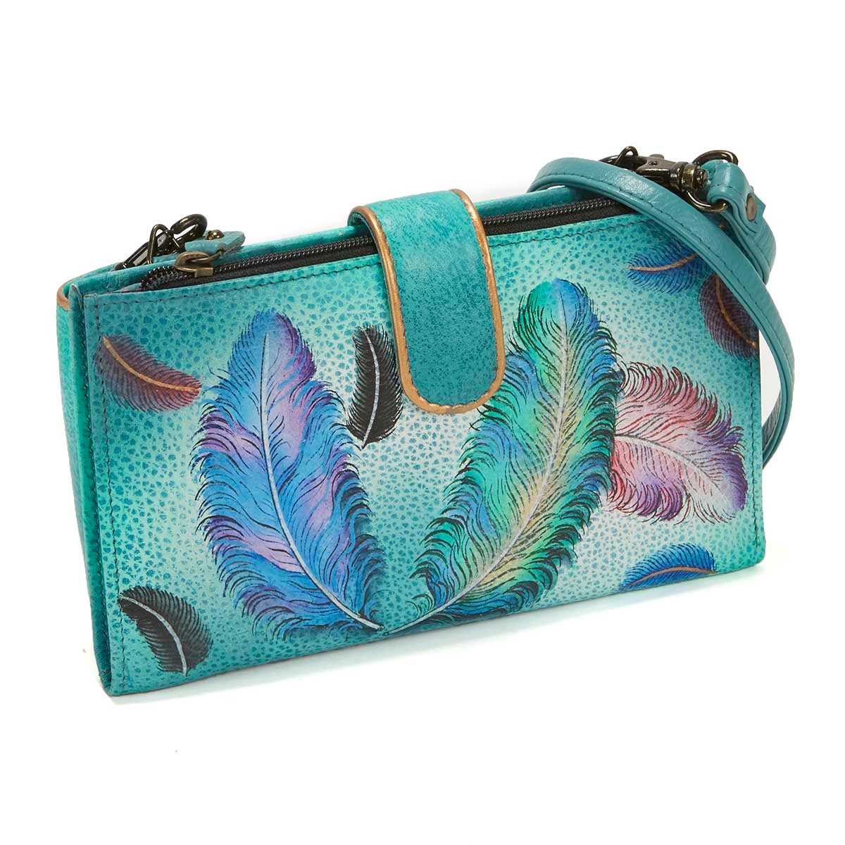 Printed Floating Feathers phncse/wallet