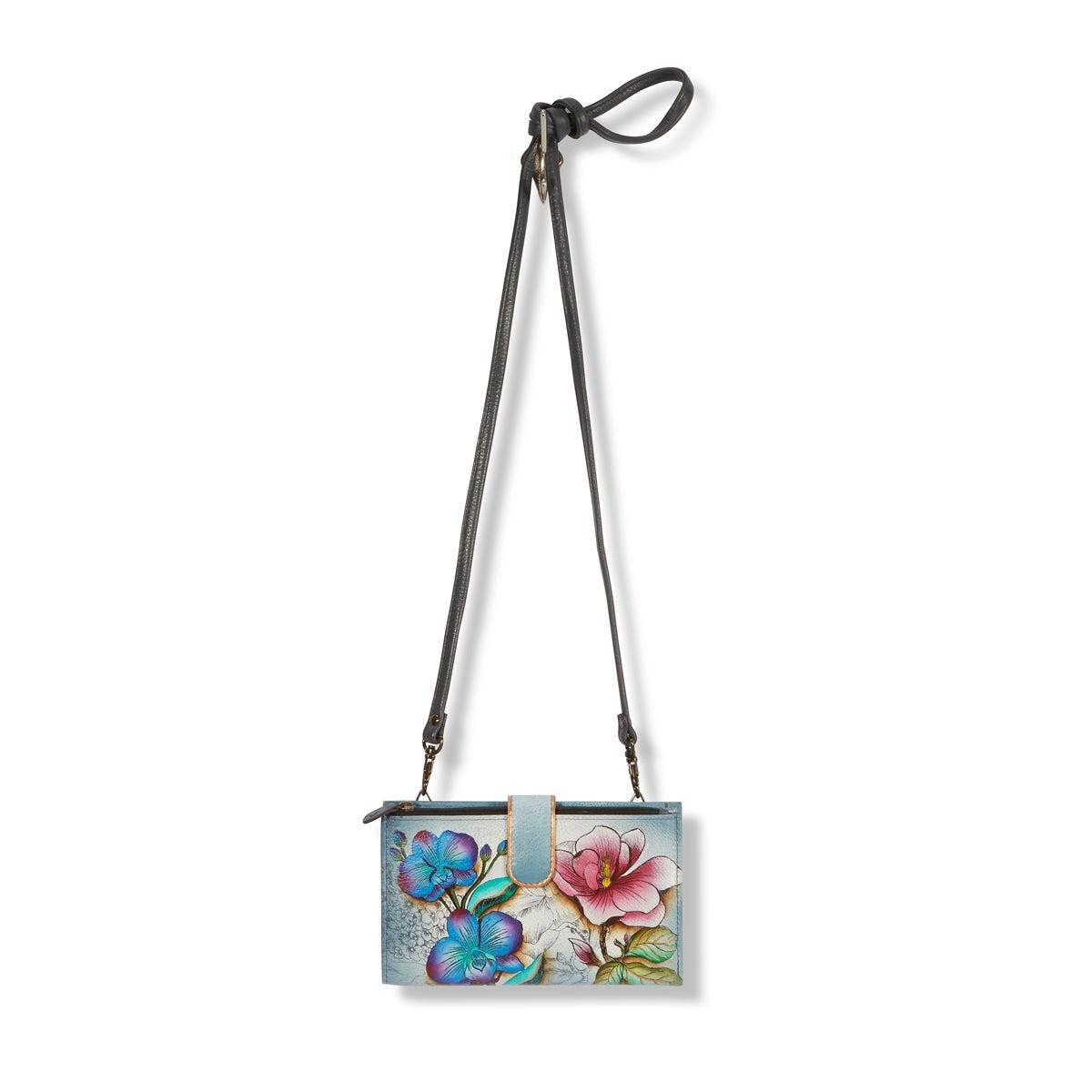 Printed lthr FloralFantasy phncse/wallet