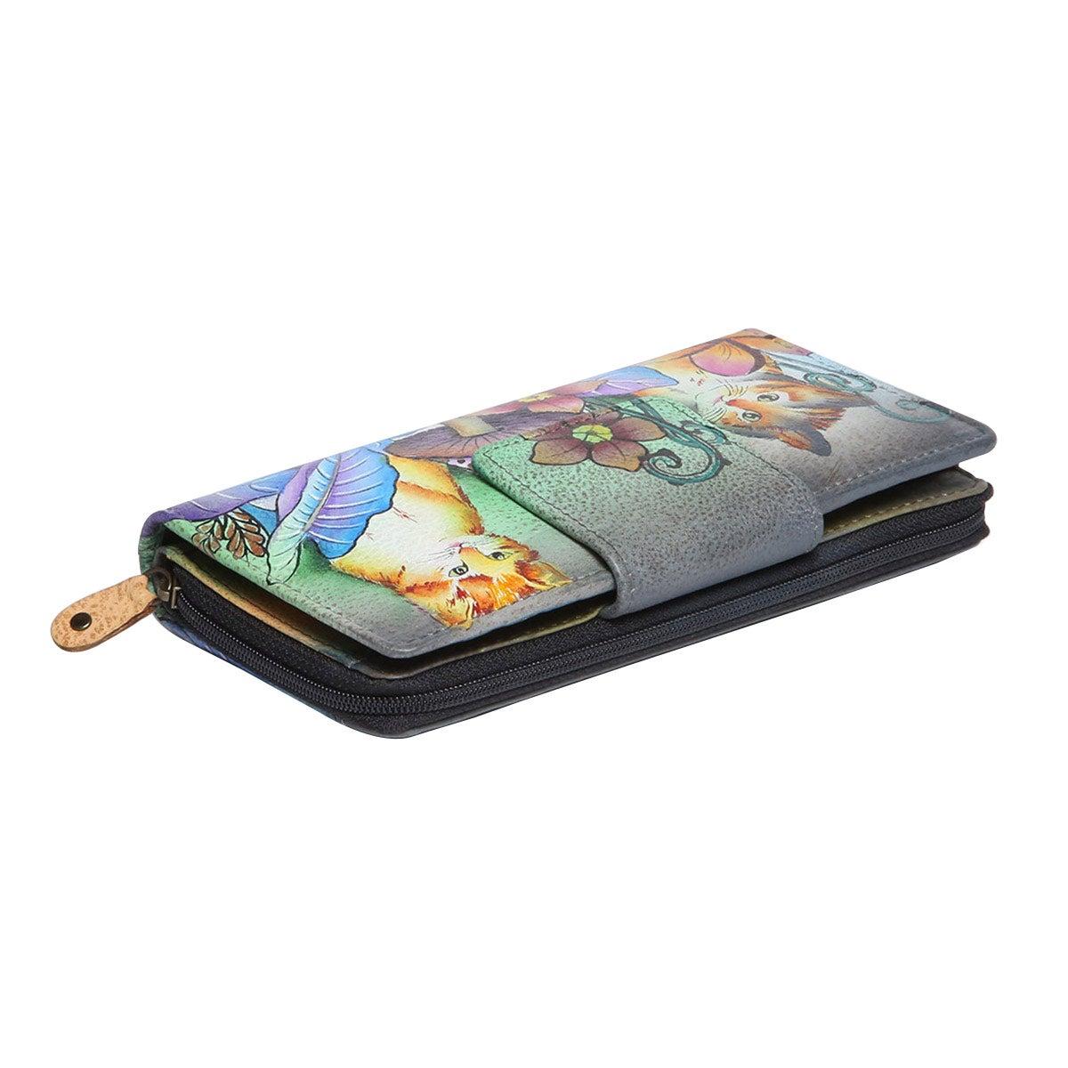 Printed lthr CatsInWonderland wallet
