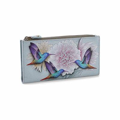 Painted lthr Rainbow Birds wallet