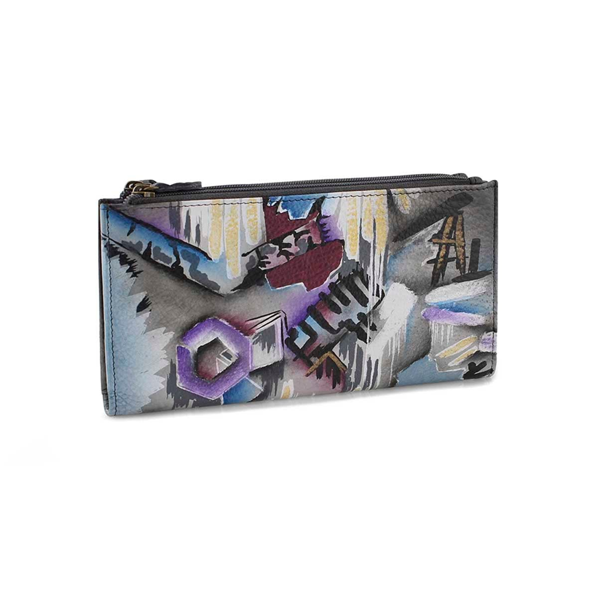 Painted lthr Urban Jungle wallet