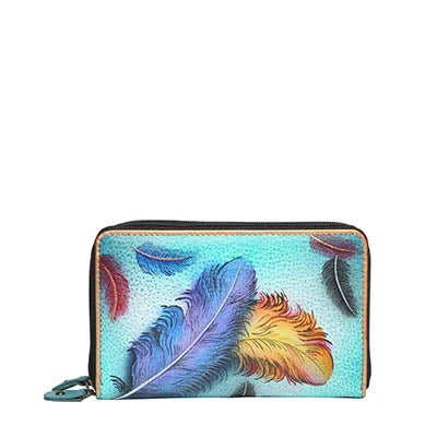 Printed leather Floating Feathers wallet