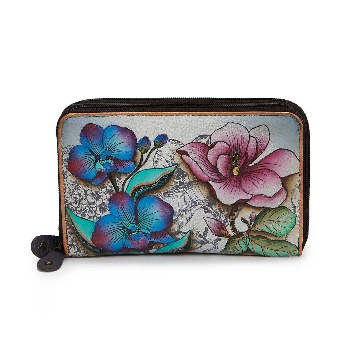 Printed lthr Floral Fantasy wallet