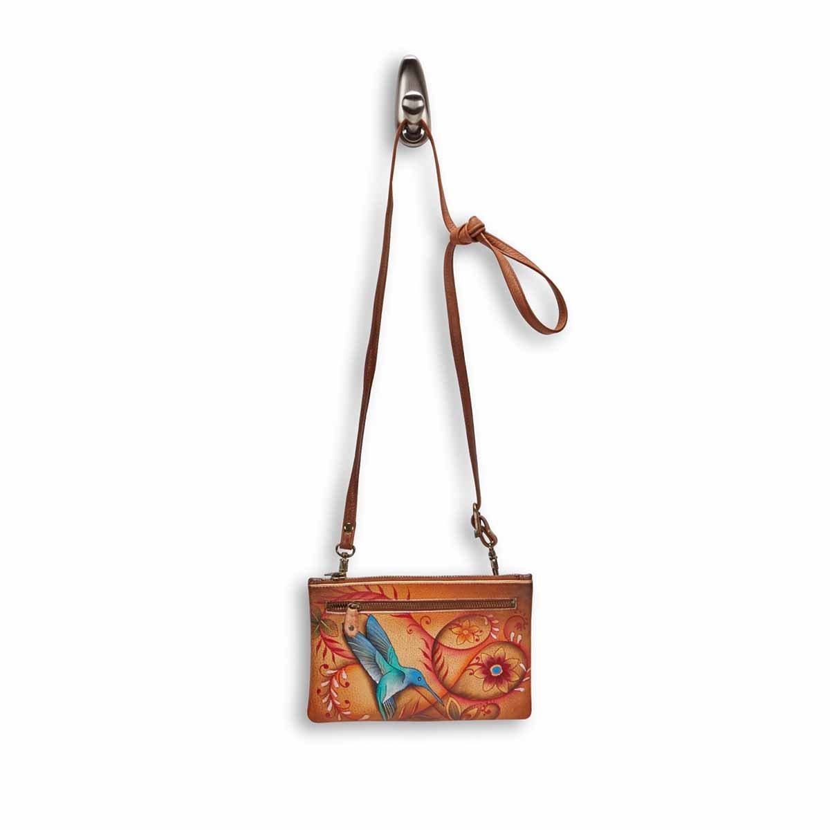 Painted lthr Flying Jewels Tan clutch