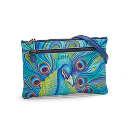 Painted lthr Jeweled Plume clutch
