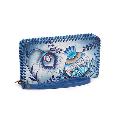 Anuschka Women's BEWITCHING BLUE zip around wristlet