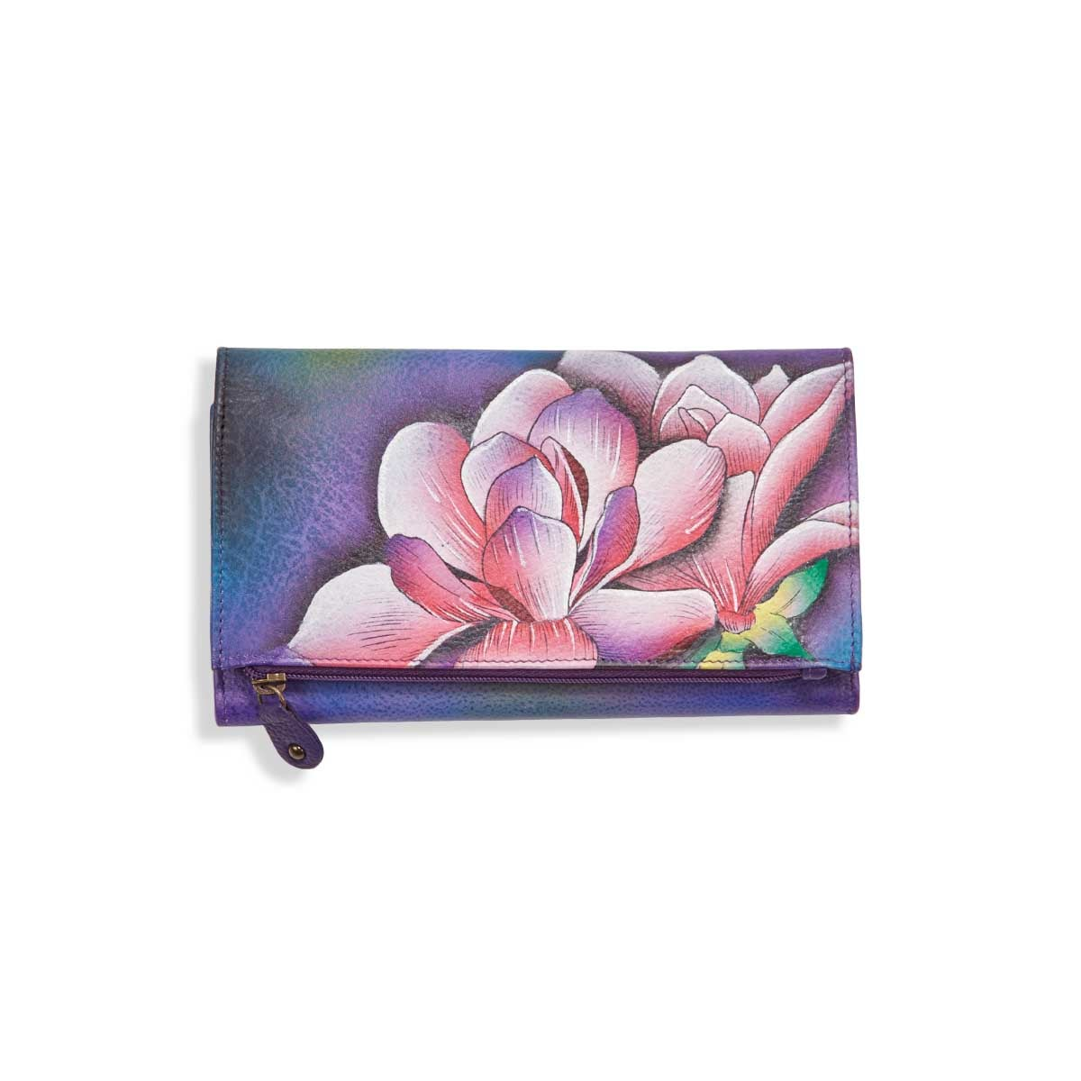 Painted lthr Magnolia Melody wallet