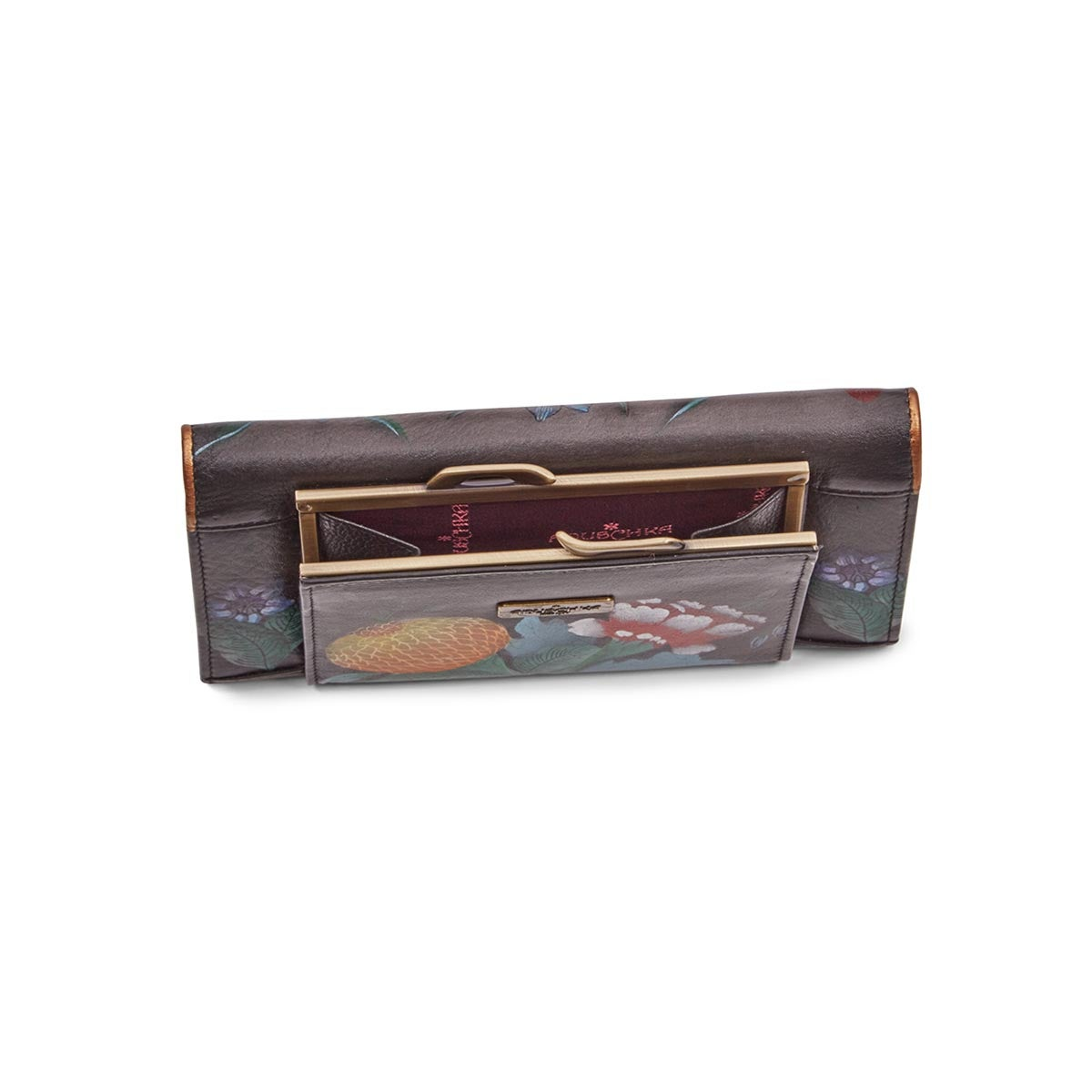 Painted lthr Vintage Bouquet wallet