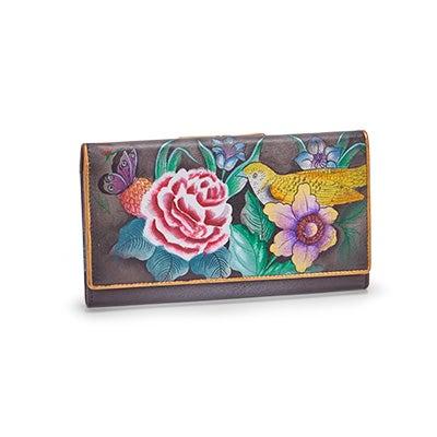Painted lthr Vintage Bouquet wallet