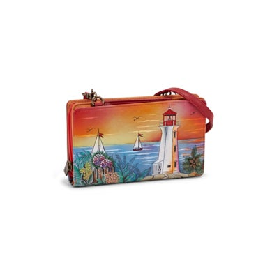 Painted lthr Guiding Light orgzr wallet