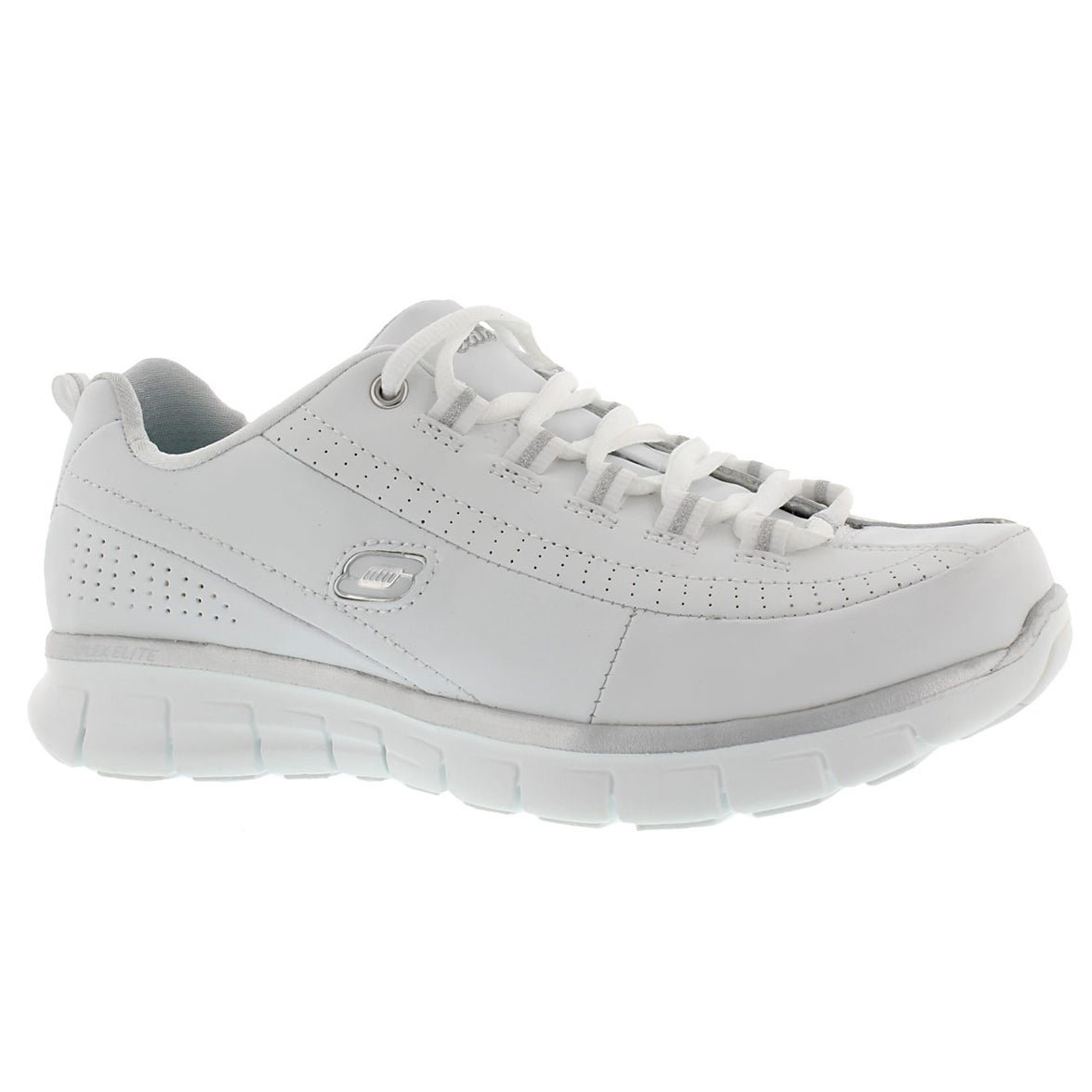 Lds Elite Status wht laceup sneaker-Wide